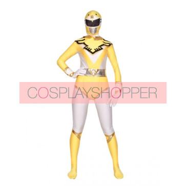 Yellow And White Lycra Spandex Unisex Superhero Zentai Suit