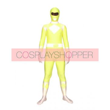 Yellow And White Space Warrior Lycra Spandex Superhero Zentai Suit