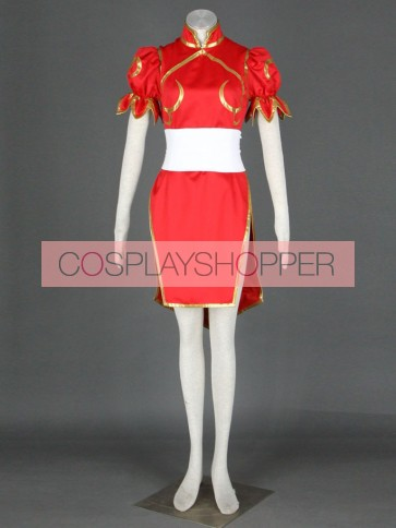 Street Fighter Red Chun Li Cosplay Costume