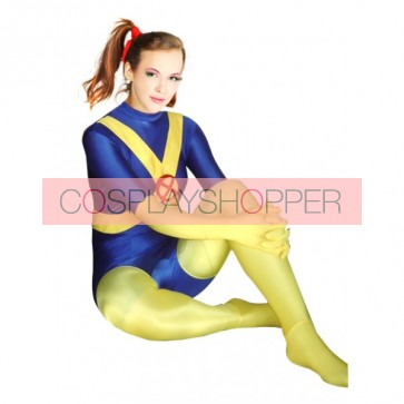 Yellow And Blue Lycra Spandex Zentai Suit