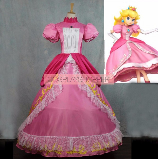 Super Mario Bros Princess Peach Dress Cosplay Costume