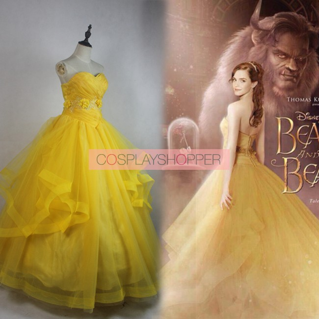 2017 New Movie Beauty And The Beast Belle Dress Cosplay Costume Halloween