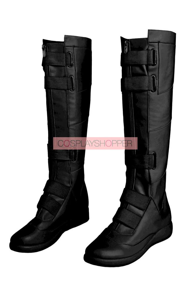 2020 Movie Black Widow Natasha Romanoff Black Jumpsuit Cosplay Boots