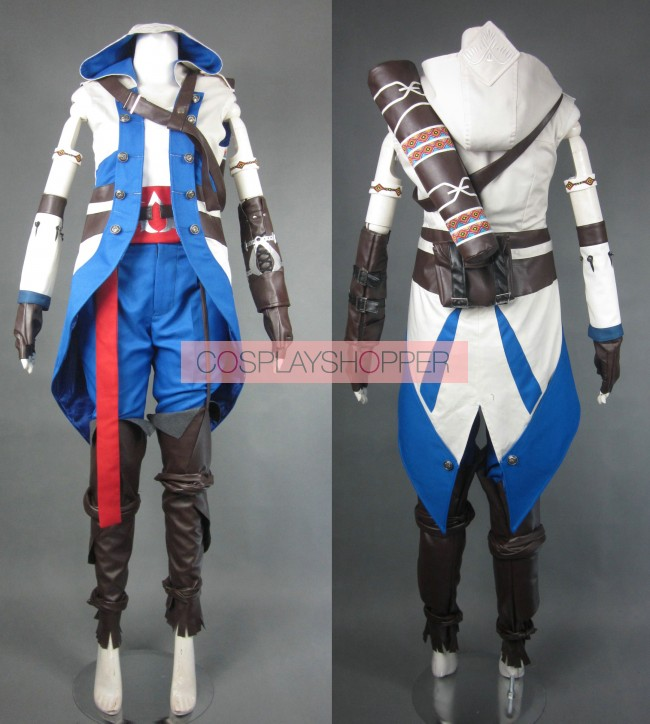 Assassin S Creed Iii Connor Kenway Cosplay Costume Light Blue
