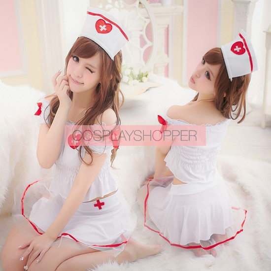 89fe490f3abe1 Cute and Hot Pleated Halter Adult Nurse Costume for Sale