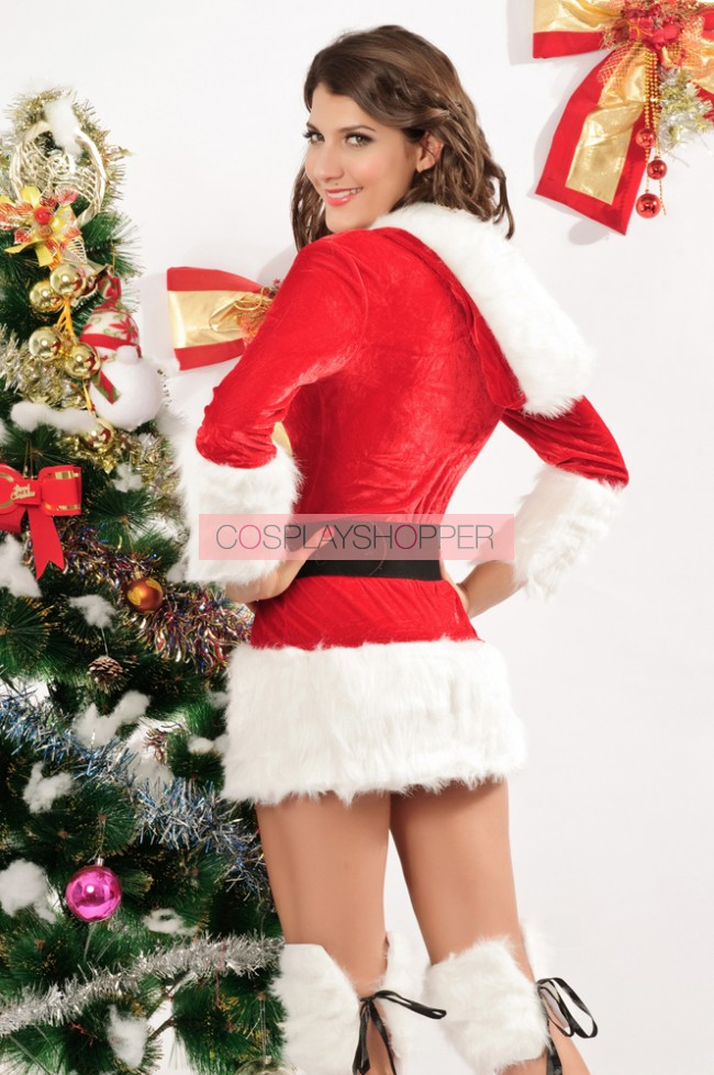 40a607ebb4e Naughty and Sexy Velvet Long Sleeves Christmas Dress