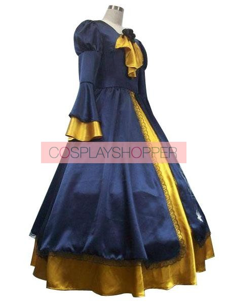 Vocaloid Kagamine Rin Blue And Yellow Cosplay Costume Dress. Zoom