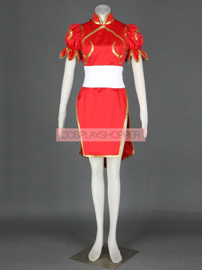 Street Fighter Red Chun Li Cosplay Costume Chun Li Cosplay
