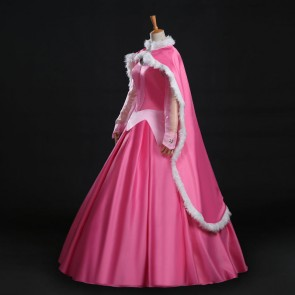Disney Sleeping Beauty Princess Aurora Pink Dress Cosplay CostumeWith Cape