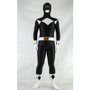 Black Spandex Power Rangers Superhero Zentai Bodysuit Costume