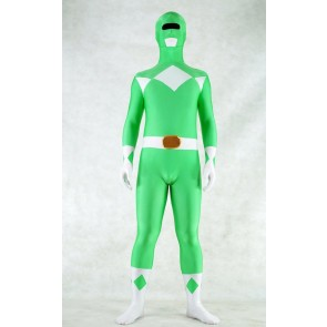 Green Spandex Power Rangers Superhero Zentai Bodysuit Costume