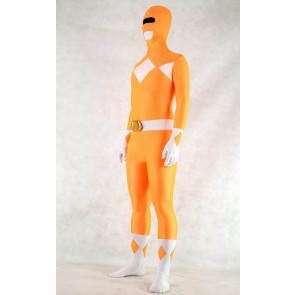 Orange Spandex Power Rangers Superhero Zentai Bodysuit Costume