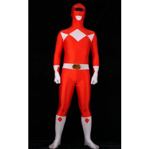 Red Spandex Power Rangers Superhero Zentai Bodysuit Costume