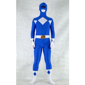 Blue Spandex Power Rangers Superhero Zentai Bodysuit Costume