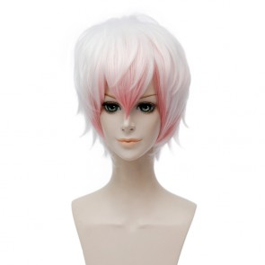White and Pink 30cm Mystic Messenger Unknown Cosplay Wig