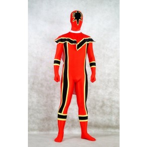 Red and Black Spandex Power Rangers Superhero Zentai Bodysuit Costume