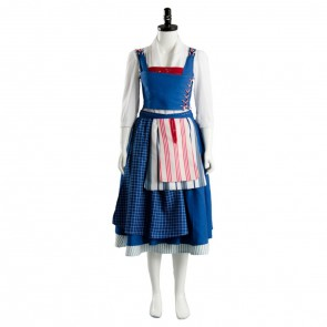 Beauty and the Beast Belle Maid Blue Dress Cosplay Costume