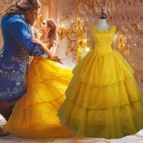 2017 New Movie Beauty and the Beast Belle Princess Dress Cosplay Costume