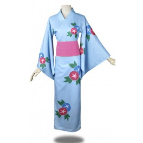 "Anohana: The Flower We Saw That Day Meiko ""Menma"" Honma Blue Kimono Cosplay Costume"