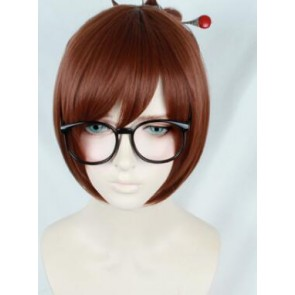 Brown 30cm Overwatch Mei Cosplay Wig