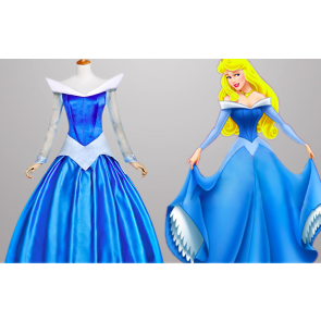 Sleeping Beauty Princess Aurora Blue Dress Cosplay Costume
