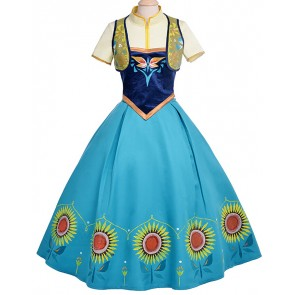 Frozen Fever Anna Birthday Party Dress Cosplay Costume