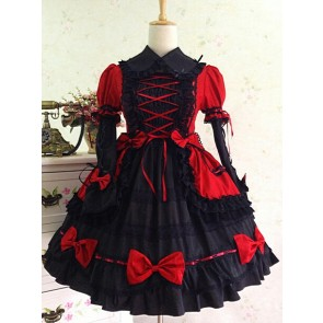 Gothic Long Sleeves Red And Black Lace Cotton Lolita Dress