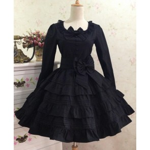 Gothic Long Sleeves Black Cotton Lolita Dress