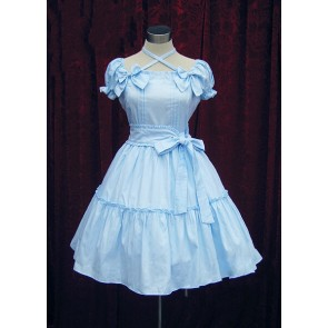 Blue Short Sleeves Bow Cotton Sweet Lolita Dress