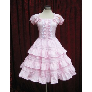 Pink Short Sleeves Ruffle Sweet Lolita Dress