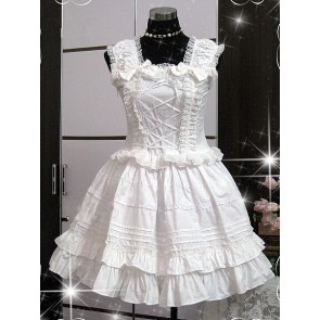 White Sleeveless Ruffle Cute Cotton Lolita Dress
