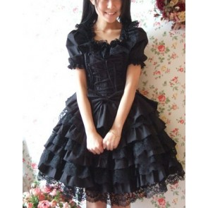Black Short Sleeves Ruffle Sweet Cotton Lolita Dress