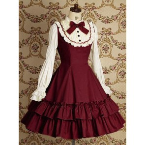 Red Long Sleeves Ruffle Elegant Lolita Dress