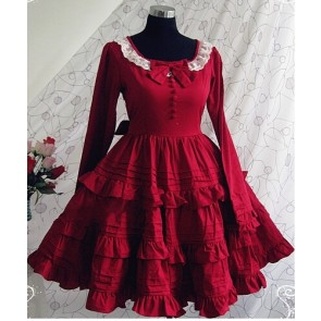 Red Long Sleeves Ruffle Classic Lolita Dress