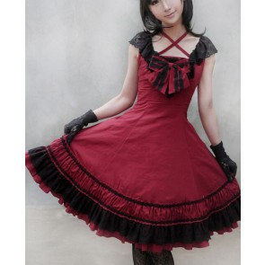 Sweet Red Sleeveless Bow Lace Lolita Dress
