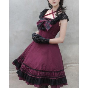 Sweet Purplish Red Sleeveless Bow Lace Lolita Dress