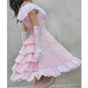 Sweet Pink Sleeveless Bow Lace Lolita Dress