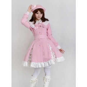 Glamorous Pink Long Sleeves Bow White Lace Lolita Coat