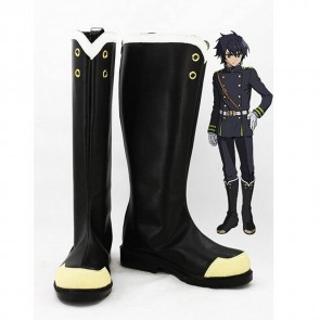 Seraph of the End: Vampire Reign (Owari no Serafu) Yuichiro Hyakuya Black Bosplay Boots
