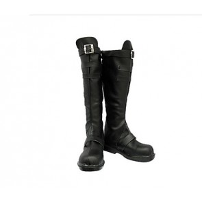07-Ghost Mikage Celestin Black Faux Leather Cosplay Boots