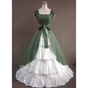 Green And White Short Sleeves Floral Double-Layer Lolita Prom Dress
