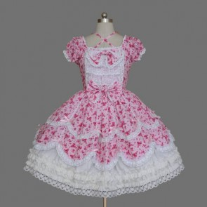 Pink And White Short Sleeves Stylish Cotton Classic Lolita Dress