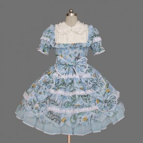Blue And White Short Sleeves Cute Cotton Classic Lolita Dress