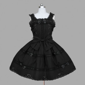 Black Sleeveless Bandage Bows Cotton Gothic Lolita Dress