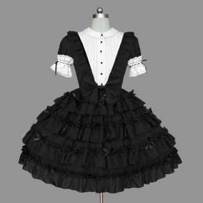 Black And White Lace Elegant Cotton Gothic Lolita Dress