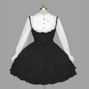 Black And White Long Sleeves Ruffles Cotton Gothic Lolita Dress