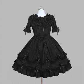 Black Round Neck Bows Cotton Gothic Lolita Dress
