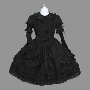 Black Elegant Bows Cotton Gothic Lolita Dress