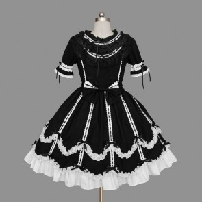 Black And White Short Sleeves Elegant Cotton Gothic Lolita Dress