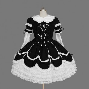 Black And White Beautiful Lace Cotton Gothic Lolita Dress